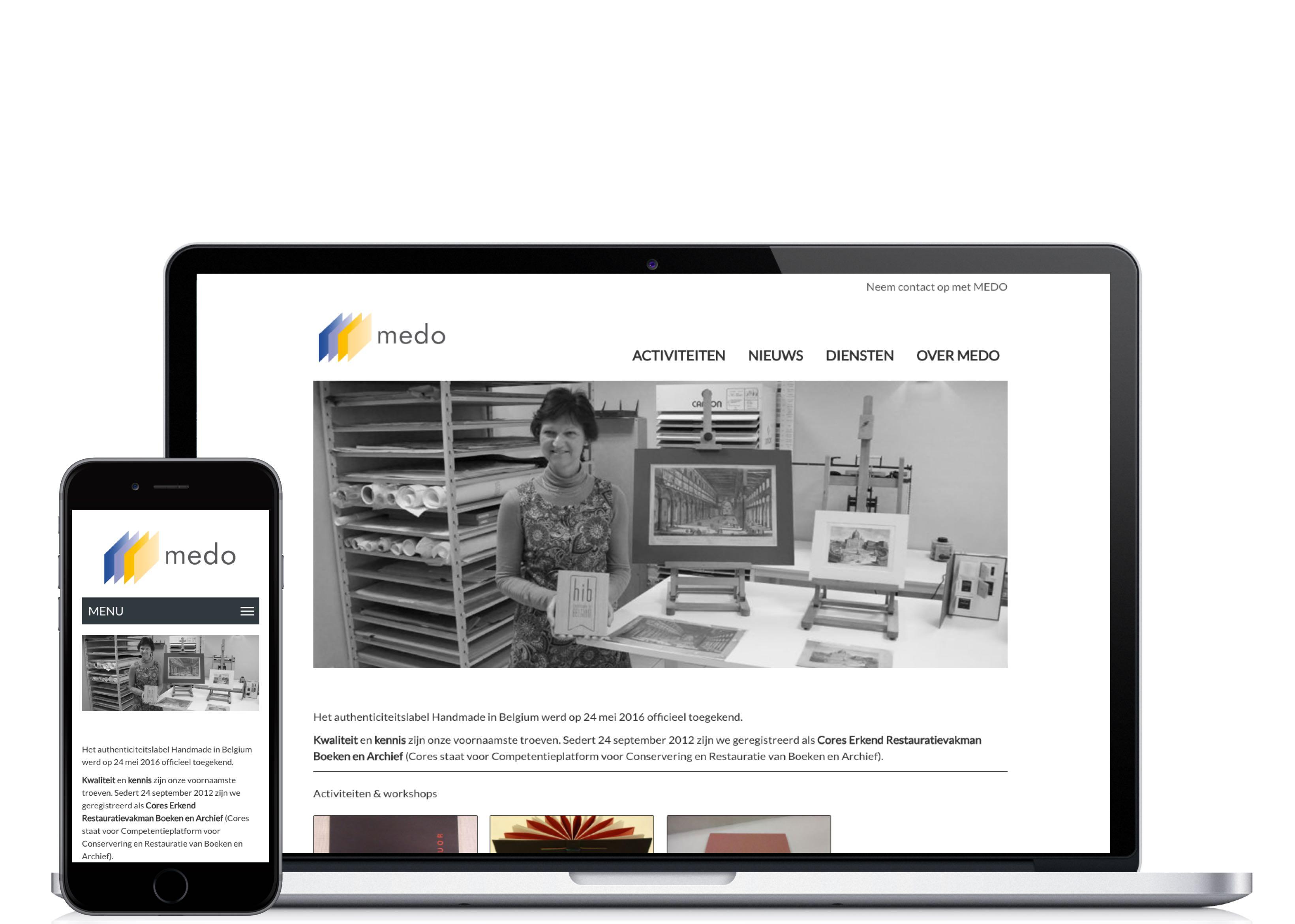 Website van MEDO op een iPad