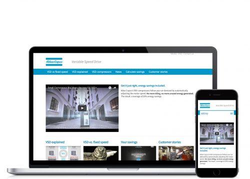 Atlas Copco op laptop en mobiel